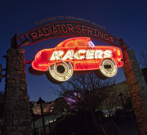 Radiator Springs Racers Neon Sign At Night