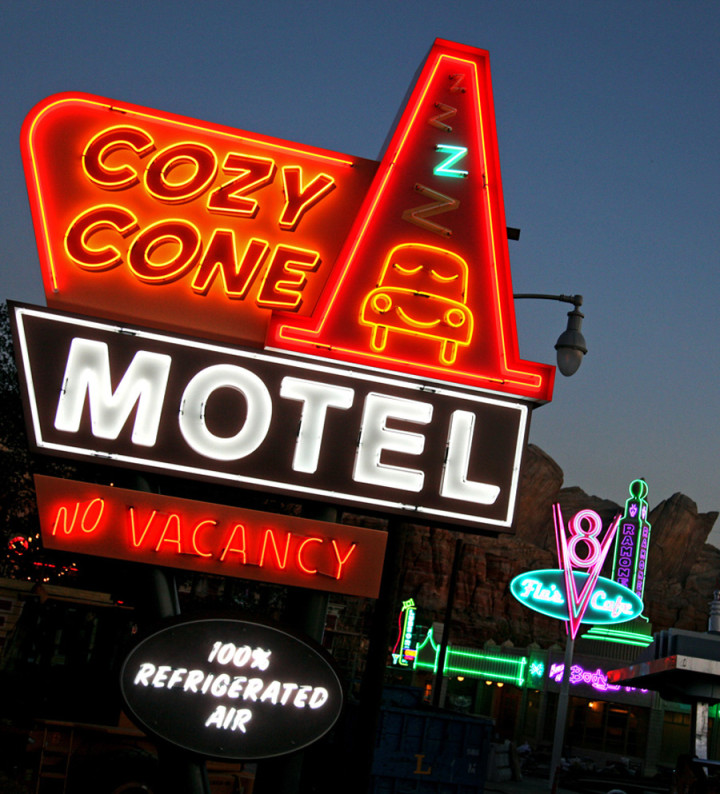 Cars Land Disney California Adventure At Night Cozy Cone Motel