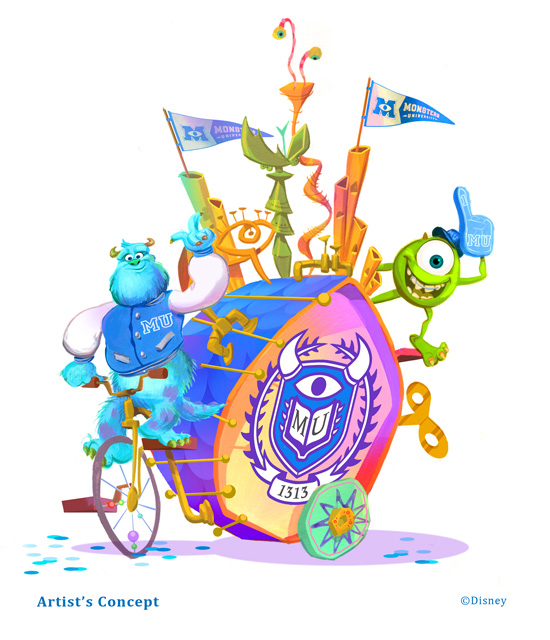 Monsters University Pixar Play Parade Float Concept Art