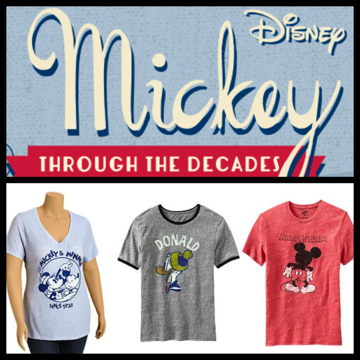 Mickey Through The Decades Old Navy Tshirt Collection