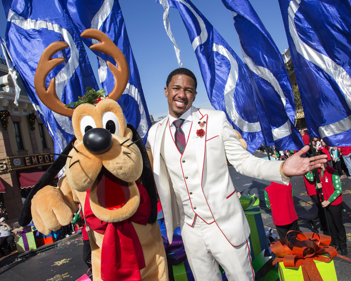 Abc Network Disney Parks Christmas Day Parade Taping At Disneyland 2013 Nick Cannon Pluto