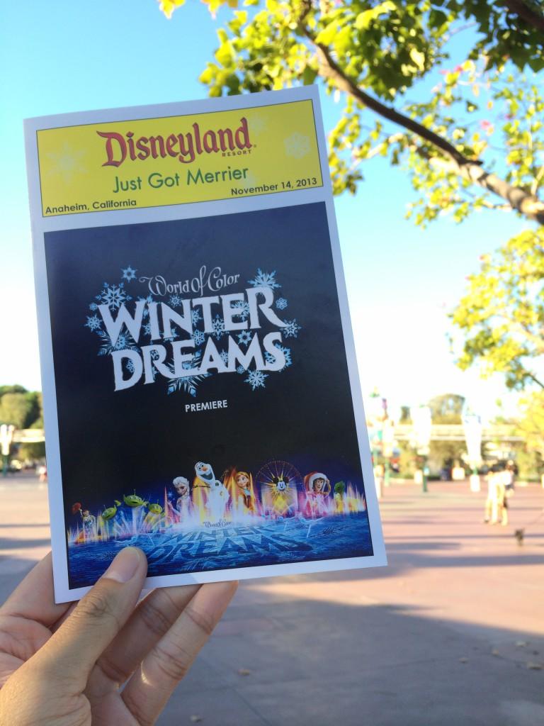 Disneyland Resort Holidays Press Event 2013 World Of Color Winter Dreams Premiere Program Playbill Disney California Adventure