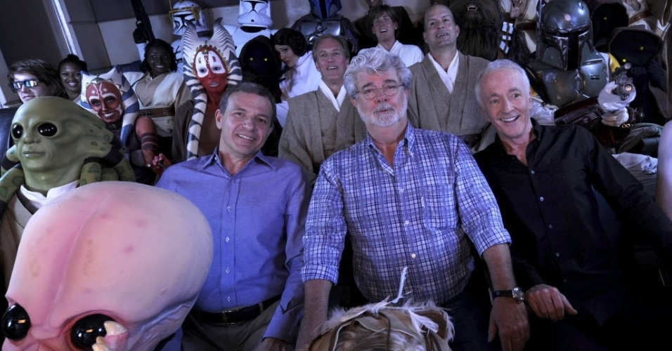 George Lucas Bob Iger Anthony Daniels Ride Star Tours