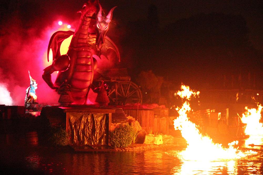 Disneyland Fantasmic Finale Dragon Mickey Mouse Scene