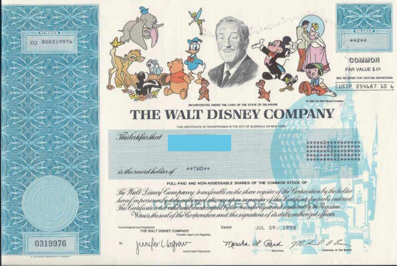 Walt Disney Company Stock Certificate