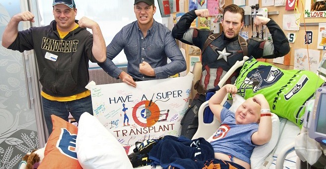 captain america visits seattle hospital