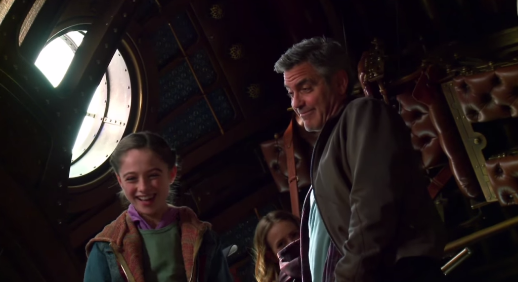 'Screen Shot 2015-05-14 at 11.34.14 PM 1' from the web at 'http://disneyexaminer.com/wp-content/uploads/2015/05/DisneyExaminer-Tomorrowland-Interview-Raffey-Cassidy-Athena-George-Clooney-Frank-Walker-1024x557.png'