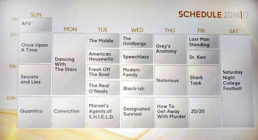 ABC Upfront 2016 2017 Schedule
