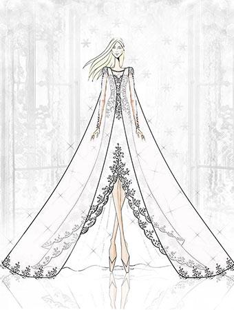 elsa frozen sketch concept wedding dress alfred angelo